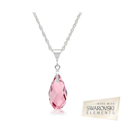 Swarovski Embellished Light Rose Briolette Crystal Pendant.