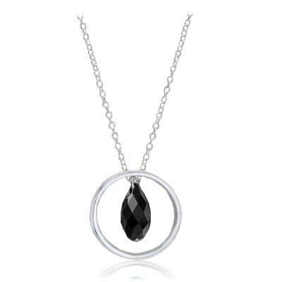 Swarovski® Embellished  Black Briolette Crystal Ring Pendant Sterling Silver Plated