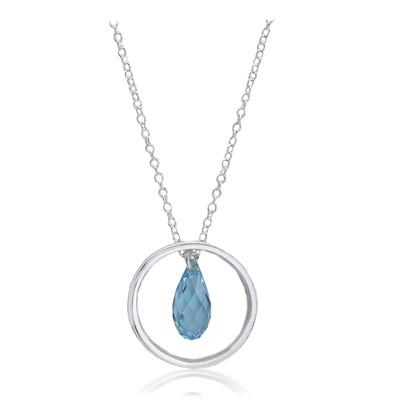 Swarovski® Embellished  Aquamarine Crystal Ring Pendant Sterling Silver Plated