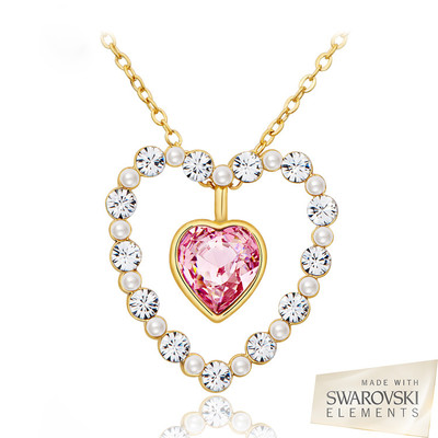 Swarovski Elements Two Styles in One Heart Pendant 18 Inches
