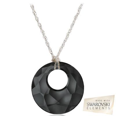 "Swarovski Elements Crystal "" Victory "" Black Jet Pendant Sterling Silver 18 Inches"