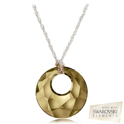 """Swarovski Elements Crystal """" Victory """" Golden Shadow Pendant Sterling Silver 18 Inches"""