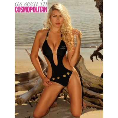 Celebrity style bikini with metal accessories in black