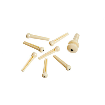 Planet Waves PWPS12 Molded Bridge Pins with End Pin - Ivory with Black Dot - Set of 7 - Planet Waves - PWPS12