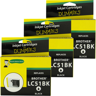 3 Pack of For Dummies - Brother LC51 Black Inkjet Cartridge
