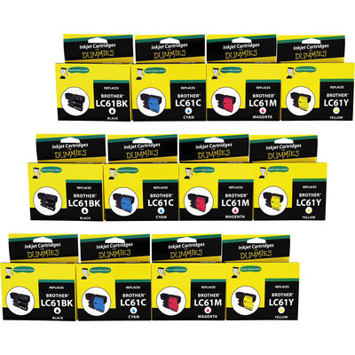 """3 Pack of For Dummies - Brother LC61 Combo Ink Cartridges- BK, C,M,Y- 4 Pack """