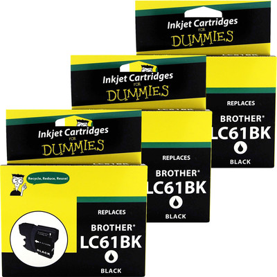 3 Pack of For Dummies - Brother LC61 Black Inkjet Cartridge