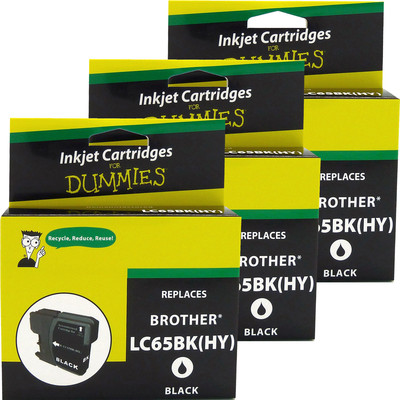 3 Pack of For Dummies - Brother LC65 Black Inkjet Cartridge