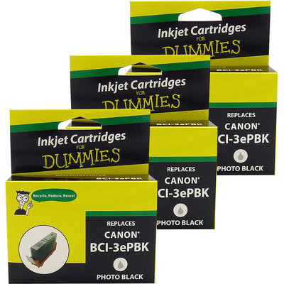 3 Pack of For Dummies - Canon BCI-3e/6 Photo Black Inkjet Cartridge (4479A003AA)