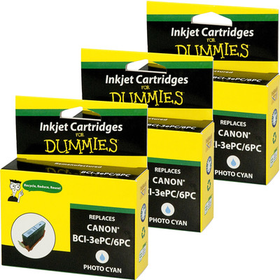 3 Pack of For Dummies - Canon BCI-3e/6 Photo Cyan Inkjet Cartridge (4479A003AA)