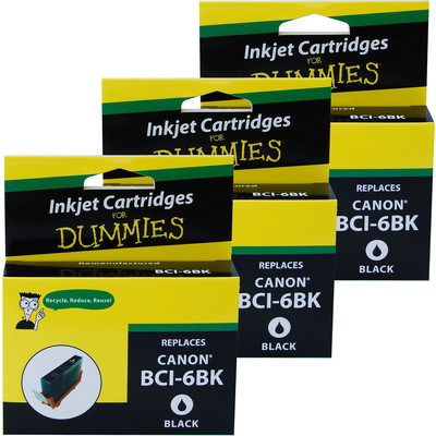 3 Pack of For Dummies - Canon BCI-6 Black Inkjet Cartridge (4705A003)
