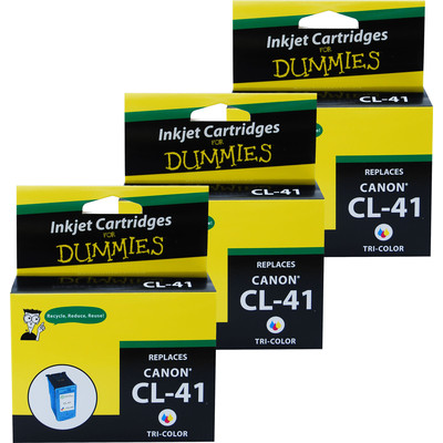 3 Pack of For Dummies - Canon CL-41 Tri-color Inkjet Cartridge (0617B002AA)
