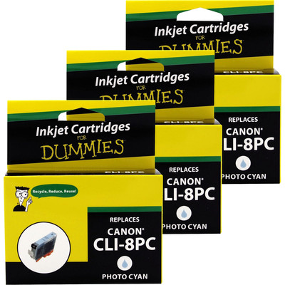 3 Pack of For Dummies - Canon CLI-8 Photo Cyan Inkjet Cartridge