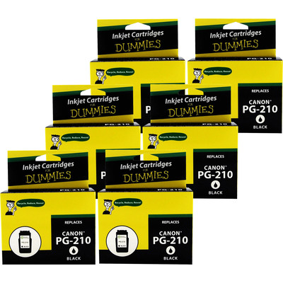 6 Pack of For Dummies - Canon PG-210 Black Inkjet Cartridge (2974B001) (Remanufactured)