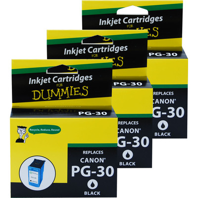 3 Pack of For Dummies - Canon PG-30 Black Inkjet Cartridge (1899B002)