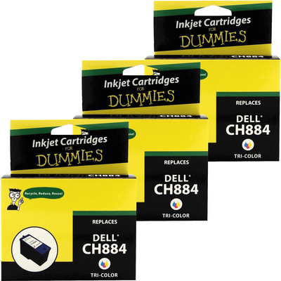 3 Pack of For Dummies - Dell CH884HY Color Inkjet Cartridge 968 966 (Series 7)
