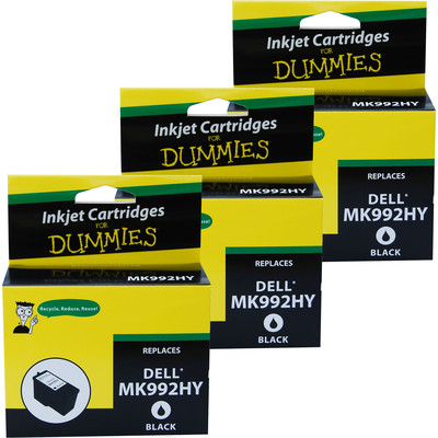 3 Pack of For Dummies - Dell MK992HY Black Inkjet Cartridge 926 V305W V305  (Series 9)