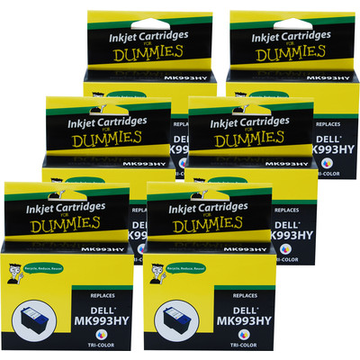 6 Pack of For Dummies - Dell MK993HY Color Inkjet Cartridge 926 V305W V305 (Series 9) (Remanufactured)