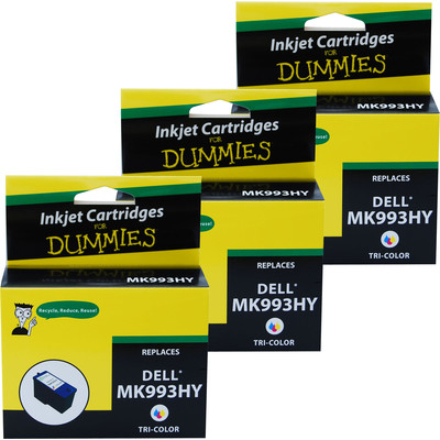 3 Pack of For Dummies - Dell MK993HY Color Inkjet Cartridge  926 V305W V305 (Series 9)