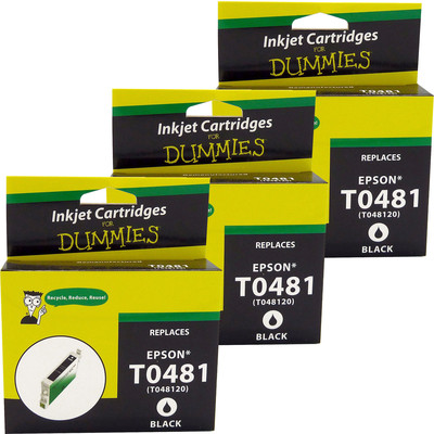 3 Pack of For Dummies - Epson T0481 Black Inkjet Cartridge (Remanufactured)