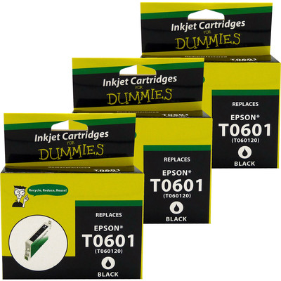 3 Pack of For Dummies - Epson T0601 Black Inkjet Cartridge (Remanufactured)