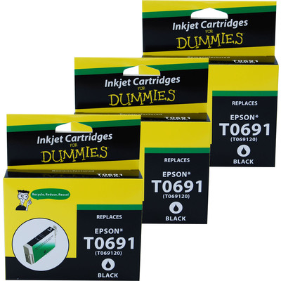 3 Pack of For Dummies - Epson T0691 Black Inkjet Cartridge (Remanufactured)