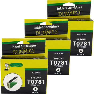 3 Pack of For Dummies - Epson T0781 Black Inkjet Cartridge (Remanufactured)