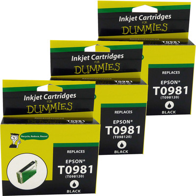 3 Pack of For Dummies - Epson T0981 Black Inkjet Cartridge (Remanufactured)
