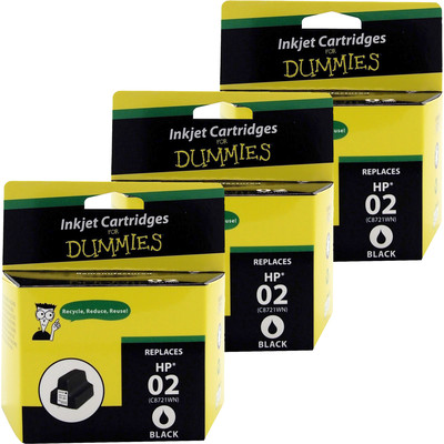 3 Pack of For Dummies - HP 02 Black Inkjet Cartridge (C8721WN) (Remanufactured)
