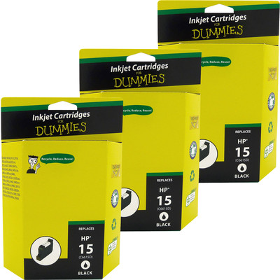 3 Pack of For Dummies - HP 15 Black Inkjet Cartridge (Remanufactured)