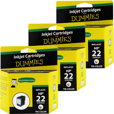 3 Pack of For Dummies - HP 22 Tricolor Inkjet Cartridge (C9352AN) (Remanufactured)