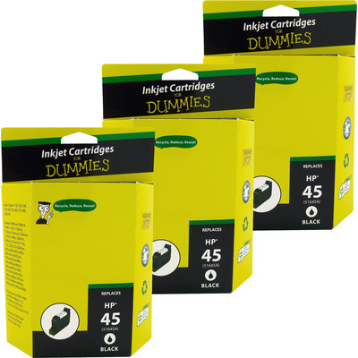 3 Pack of For Dummies - HP 45 Black Inkjet Cartridge (Remanufactured)