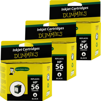 3 Pack of For Dummies - HP 56 Black Inkjet Cartridge (C6656AN) (Remanufactured)