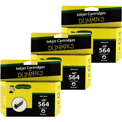 6 Pack of For Dummies - HP 564 Black Inkjet Cartridge (CB316WN) (Remanufactured)