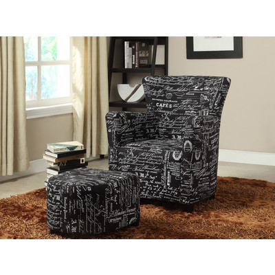 ALEX-CLUB CHAIR W/OTTOMAN-BLACK