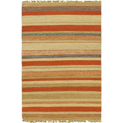 """eCarpetGallery Flat-weave Kaleidoscope Cream Kilim - 2'8"""" x 3'11"""""""