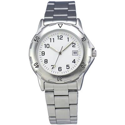 Matsuda Watch Muscular Men - Silver Metal Strap with White Dial