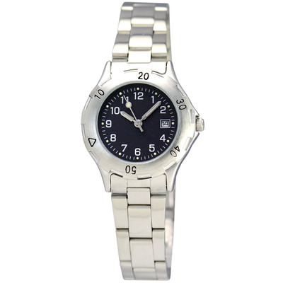 Matsuda Watch Muscular Ladies - Silver Metal Strap with Black Dial
