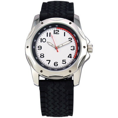 Matsuda Watch Big Face for Men, Silicon Tire Strap - Red and White Dial