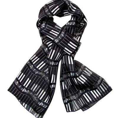 Scarf Aim Satin Stripe Kybd Black W/White Imprint - Aim - 21883C