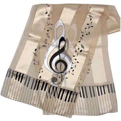 Scarf Aim Satin Stripe Keyboard Clef Notes Beige - 13 X 60 - Aim - 56425