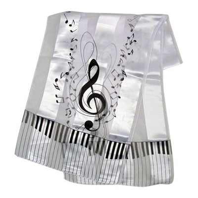 Scarf Aim Satin Stripe Keyboard Clef Notes White - 13 X 60 - Aim - 56432