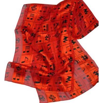Scarf Aim Satin Stripe Mixed Music Notes Red - Aim - 56438B