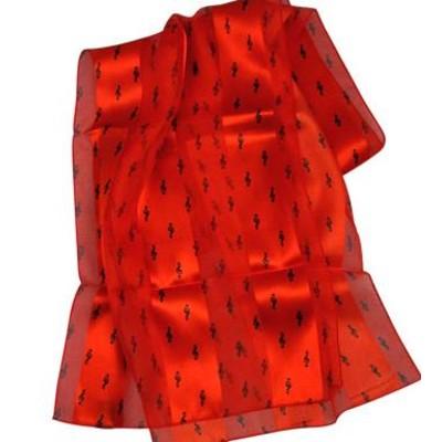 Scarf Aim Satin Stripe G-Clef & Notes Red - Aim
