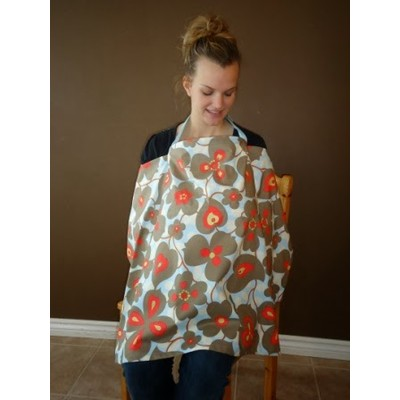INTERCHANGEABLE NURSING COVER BLUE WITH FLOWERS