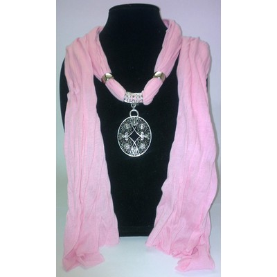 Jewelry Scarf with Lotus Pendant - Pink Color