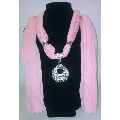 Jewelry Scarf with Peacock Pendant - Pink Color