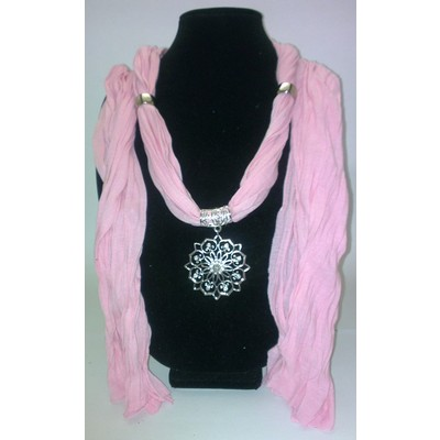 Jewelry Scarf with Sunflower Pendant - Pink Color