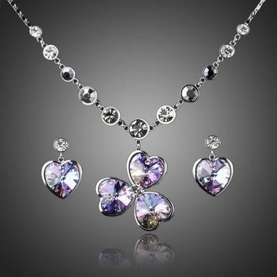 Platinum Plated Heart Flower Jewellery Set