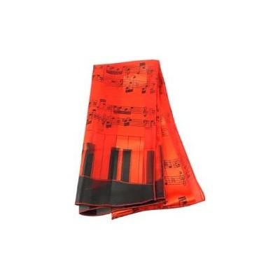 Scarf Aim Satin Stripe Staff/Kybd On Ends Red 13 X 60 - Aim - 56482